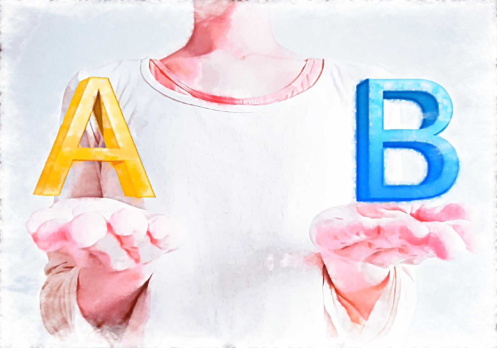 AとBの文字を持つ女性