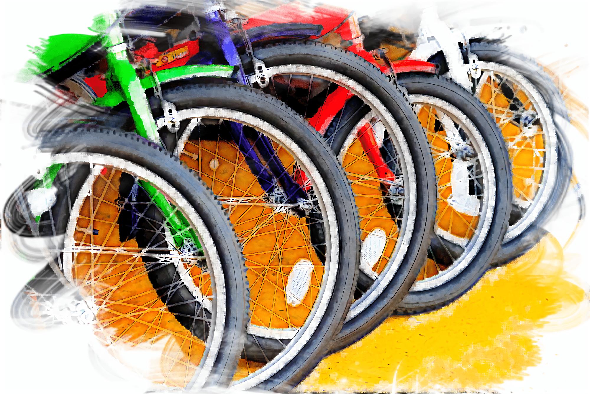並んだ6つの電動アシスト自転車