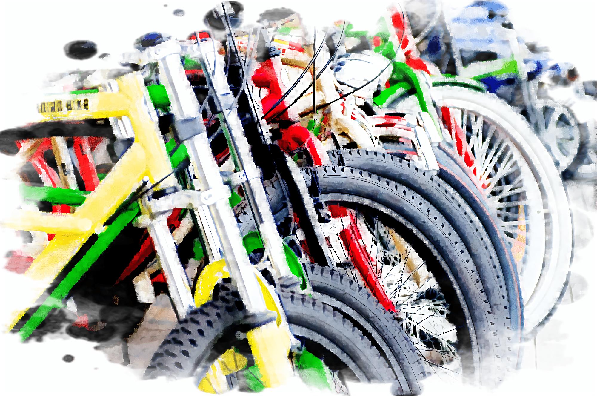 様々な色の電動アシスト自転車