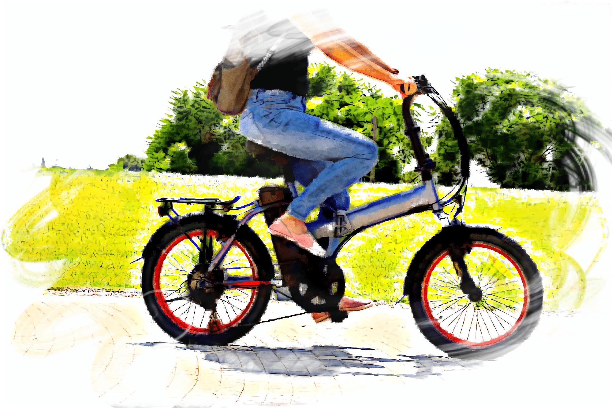 電動アシスト自転車に乗っている女性